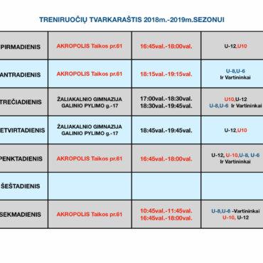 2018m.-2019m.sezono treniruočių tvarkaraštis